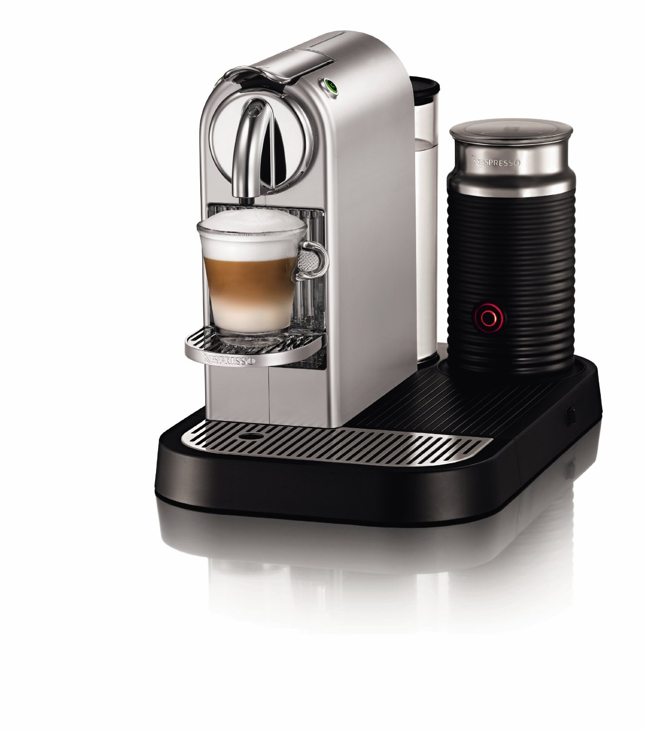 modern espresso machine with milk frother with stylish design for home made coffee