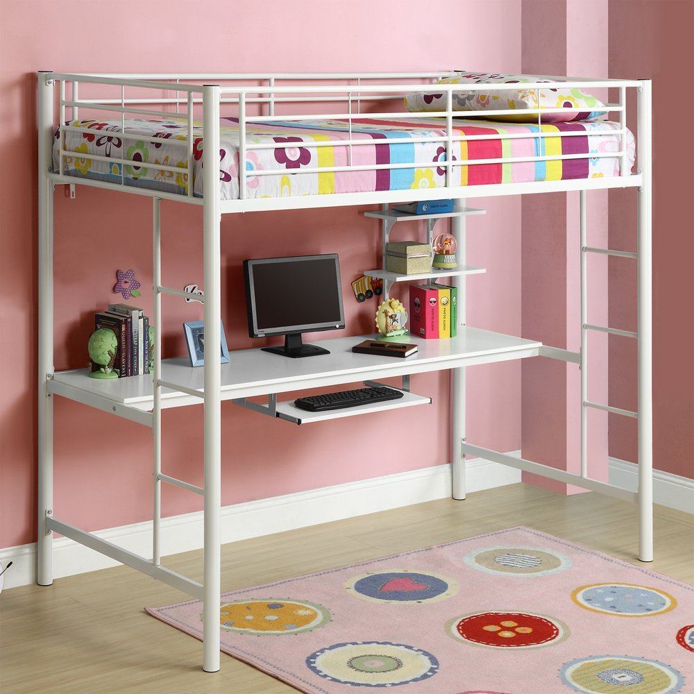 Bunk bed with desk on top - Modern Top Bunk Beds With Desks Made Of White Metal And Playful Rug Plus Space Saving