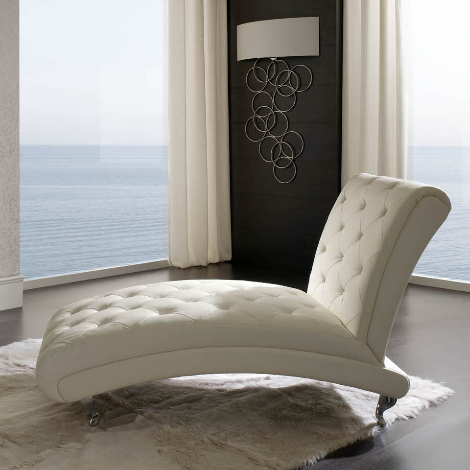 Modern White Leather Lounge Chairs For Living Room Decorated With Rug And Wooden Floor