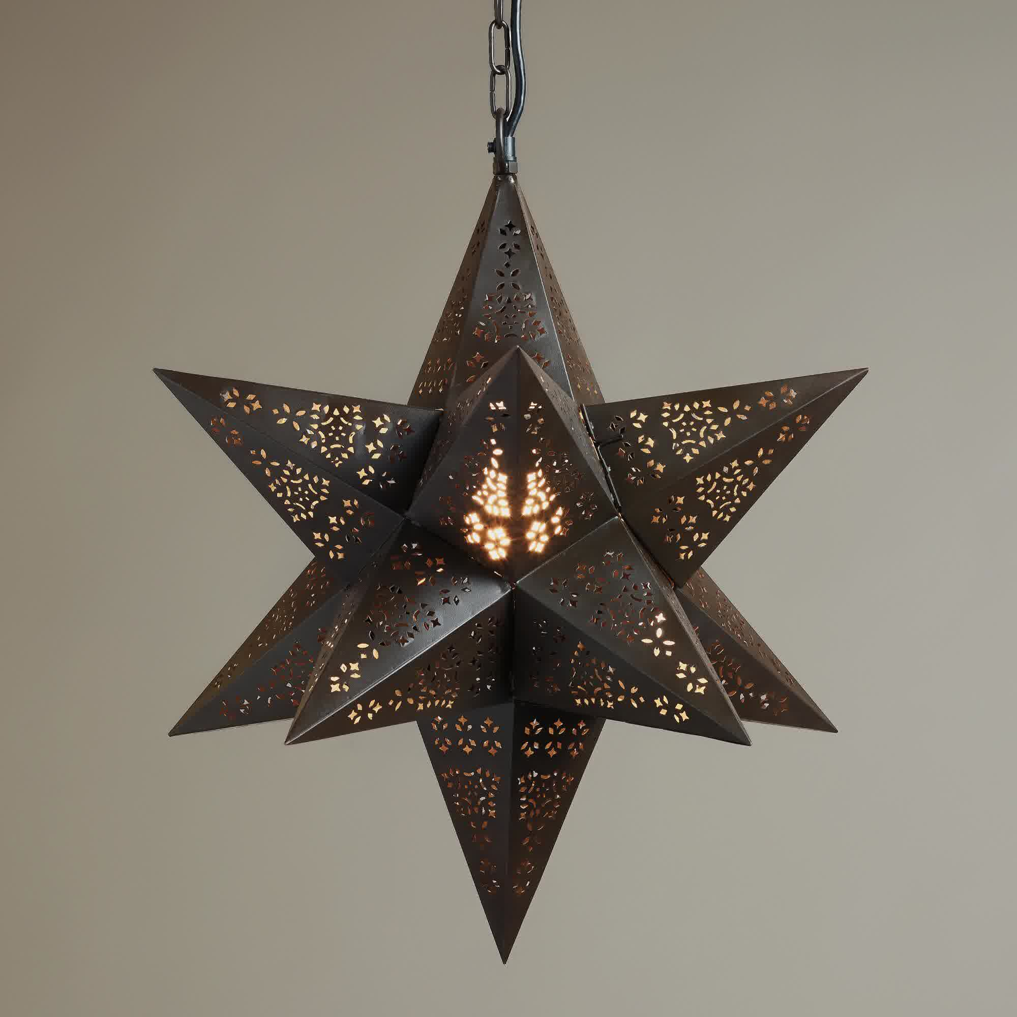 moravian star pendant light fixture made of metal with chain for. Black Bedroom Furniture Sets. Home Design Ideas