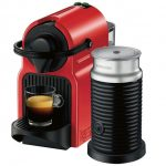 nespresso espresso machine with milk frother in black and red for home ideas
