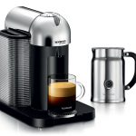 nespresso espresso machine with milk frother in modern design and simple features