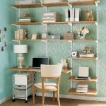 nice-and-neat-modular-shelves-as-decorative-shelving-unit-on-light-tosca-wall-with-steel-frame-and-wood-for-bedroom-or-home-office-for-books-files-CDs-and-laptop-with-a-chair