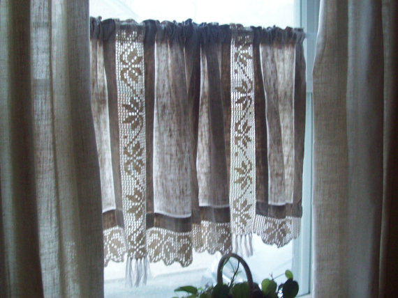Nice Vintage Linen Curtains Hand Crocheted Cotton By