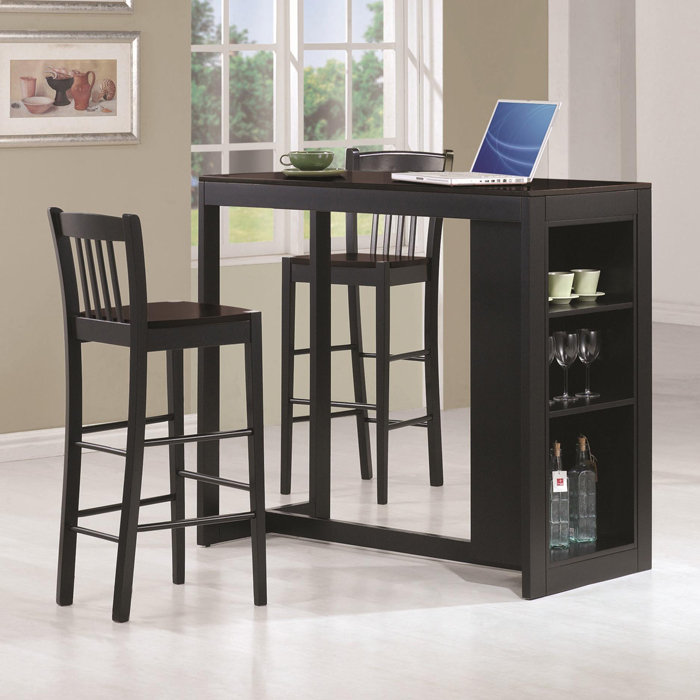 Open Pub Tables And Stools With Storage Aside For Wine And Wine Glasses  Decorated In The