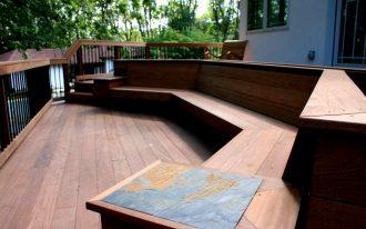 outdoor corner bench and wooden floor ideas for outdoor patio