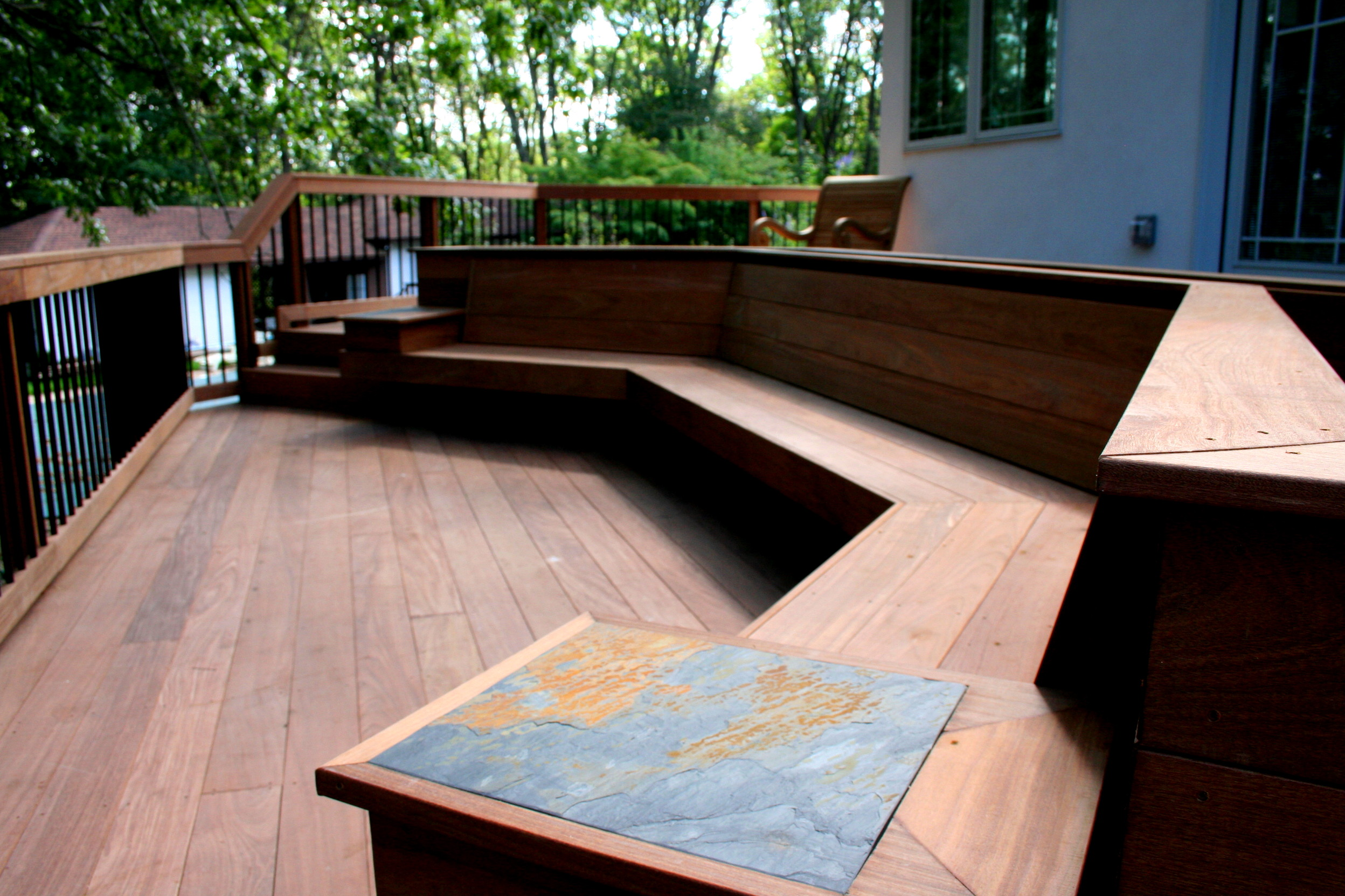 Deck Bench Seating Ideas Part - 20: Outdoor Corner Bench And Wooden Floor Ideas For Outdoor Patio