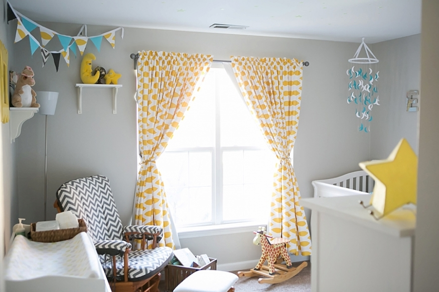 Patterned Yellow And White Blackout Curtains Nursery With Baby Crib Wall Mounted Shelf