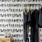 posh black and white retro wallpaper design idea with vintage wardrobe storage design with unique diy suitcase coffee tbale