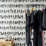 posh black and white retro wallpaper design idea with vintage wardrobe storage design with unique diy suitcase coffee tbale