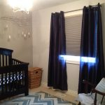 purple blackout curtains nursery decorated with blind plus rug in zigzag motive and wooden rocking chairs plus crib