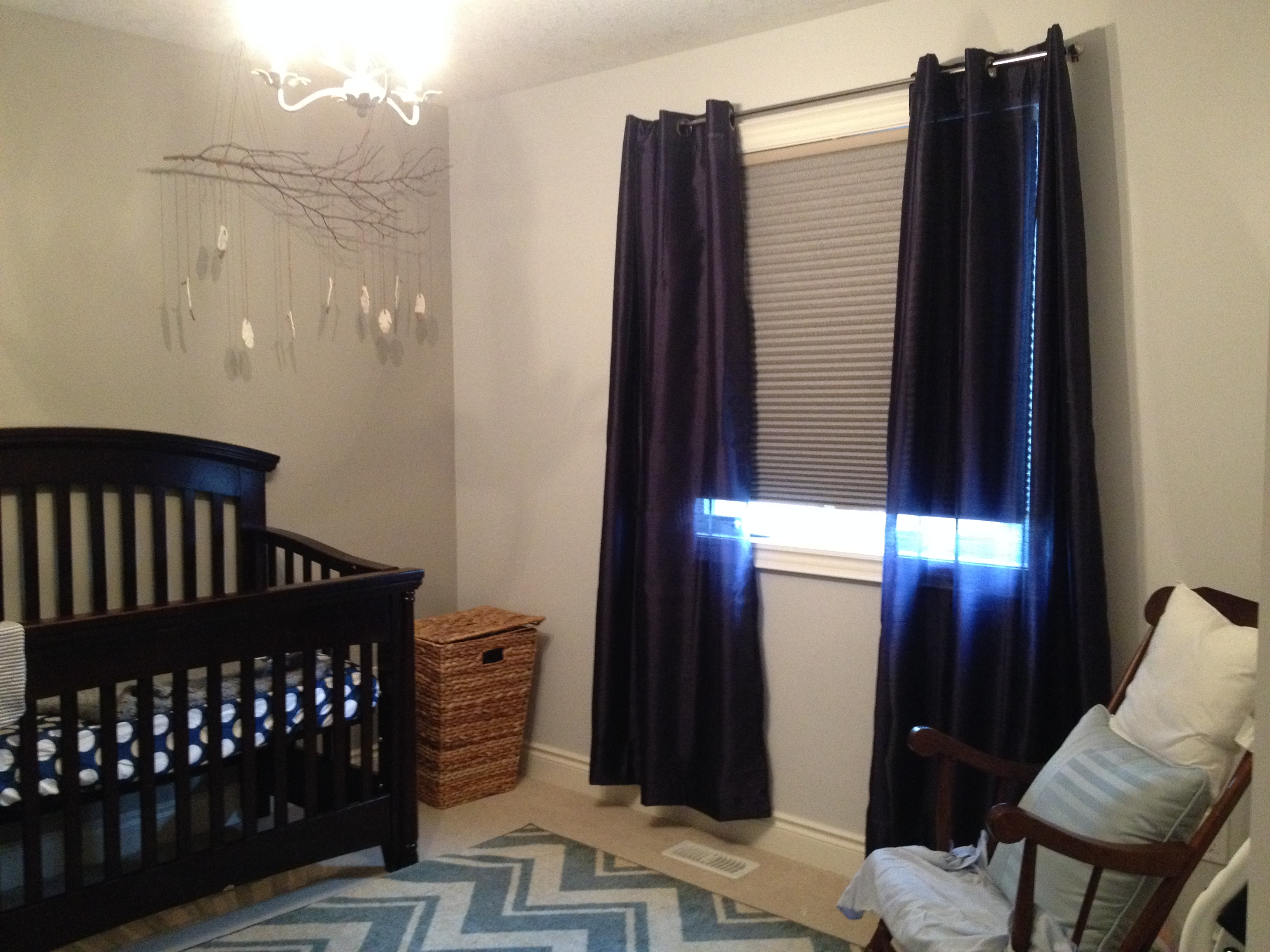 Purple Blackout Curtains Nursery Decorated With Blind Plus Rug In Zigzag Motive And Wooden Rocking Chairs