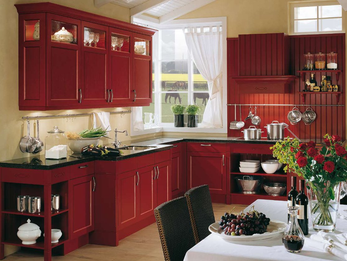 Red Country Kitchen Design With Black Top And White Backsplash Curtain Gl Window