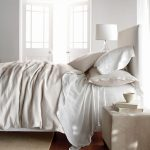 restoration hardware linen sheets in white with comfy pillows and square nightstand plus white drum shade table lamp for comfortable bedroom ideas
