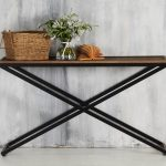 rustic skinny sofa table in admirable design combined with cute basket and pretty flower centerpieces for home decorating ideas