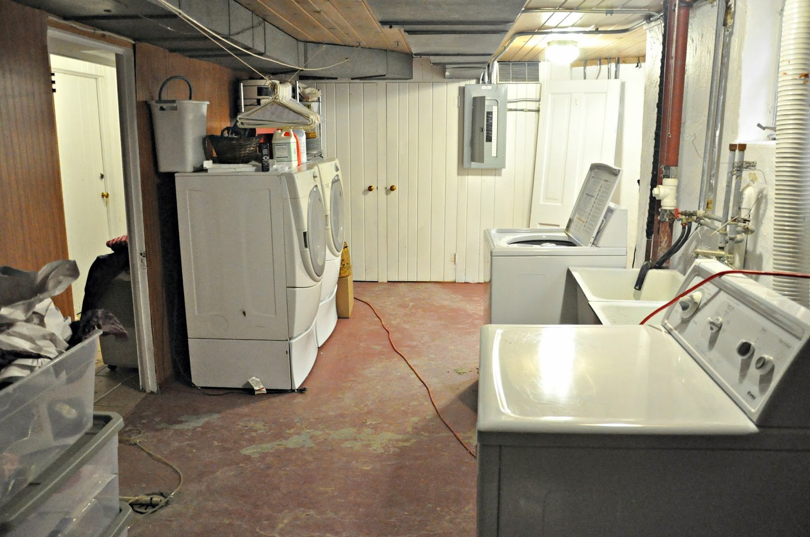 Shabby Chic Basement Laundry Room Idea With Big Storage And Closet Laundry  Room Makeover Transform Your