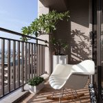 simple balcony ideas with space saving apartment balcony furniture and modern roking chair plus potted tree and small potted grenery and wooden floor and metal fence