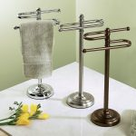simple free standing towel racks in tree different colors for stylish bathroom ideas