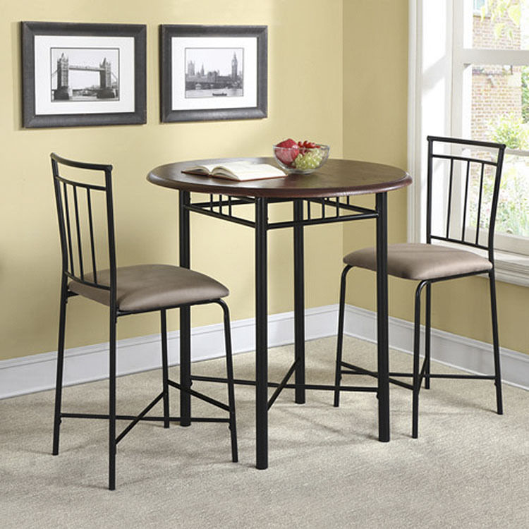 high top table sets with metal legs and wooden top plus double chairs