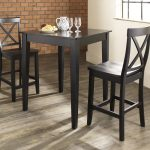 simple pub tables and stools with backs in black finish decorated in a room with wooden floor and brick wall