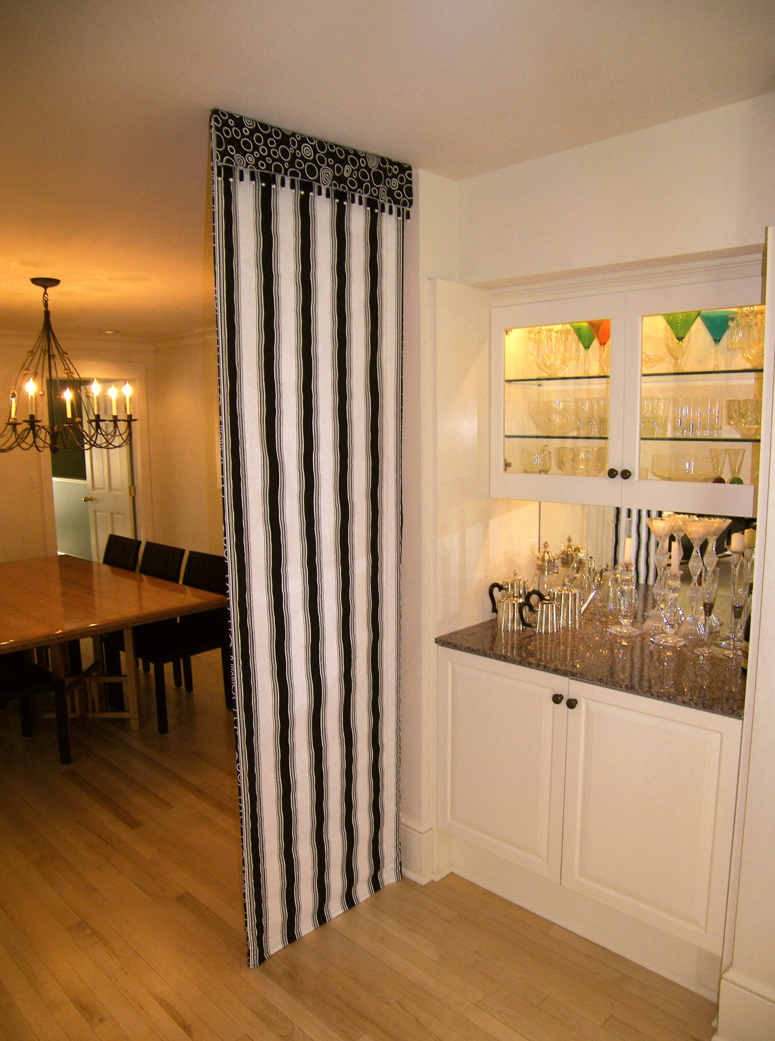 simple room divider idea design in dining room madeof stripe patterned black and white curtain and - Room Dividers Ideas