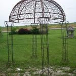 simple wrought iron pergola for garden with round shape roof for pretty home