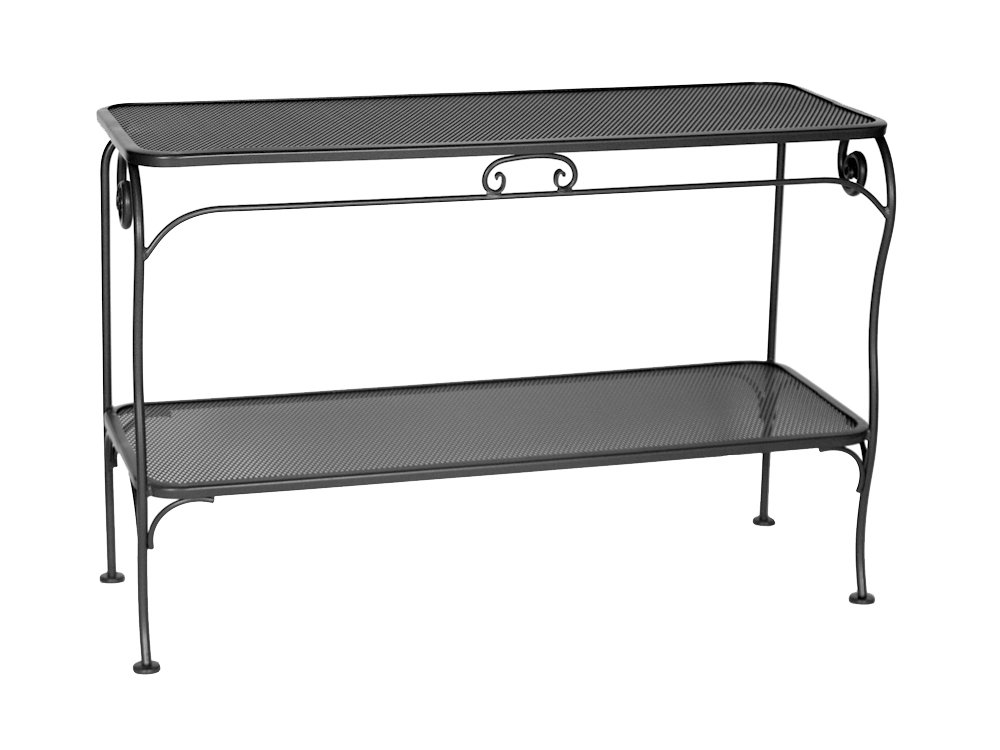 Simple Wrought Iron Sofa Table With Cute Table Top And There Is A Self  Beneath Them