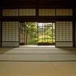sliding shoji screen door idea with wood frame in traditional Japanese house
