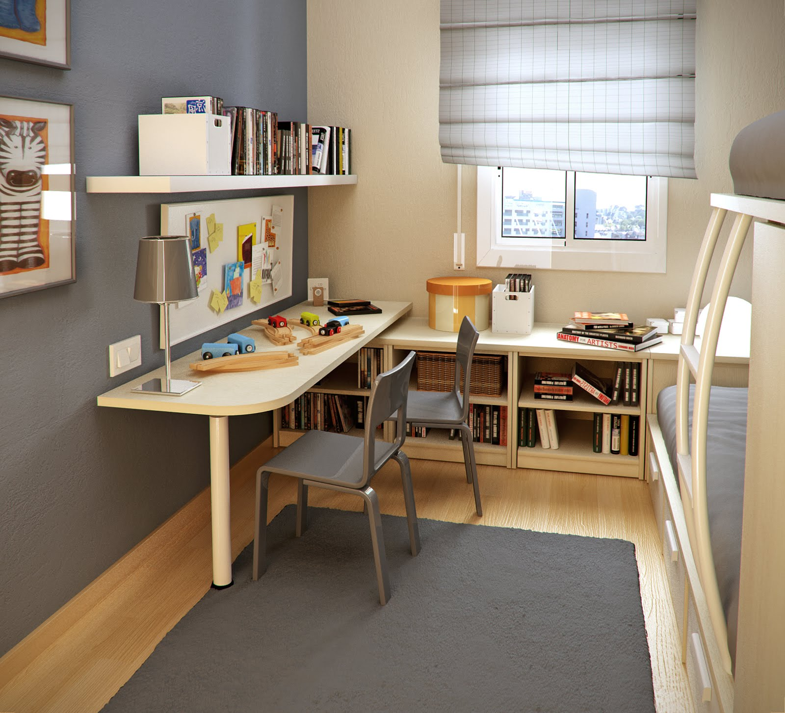 Desk Ideas For Small Bedrooms Part - 39: Small Bedroom Desks In Modern Bedroom Ideas With Bunk Bed Plus Grey Rug And  Grey Wall