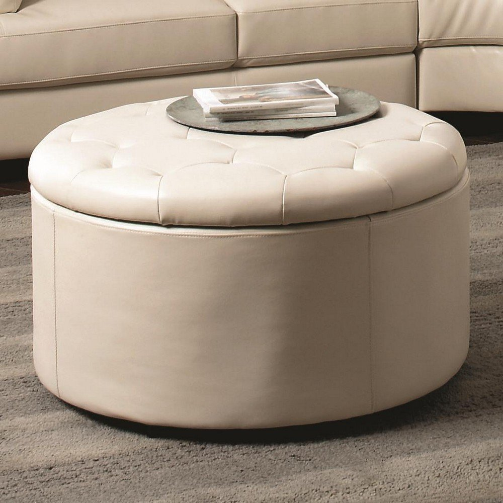 Etonnant Small Round Leather Ottoman In Milky White With Storage And Grey Rug  Underneath Plus Leather Sofa