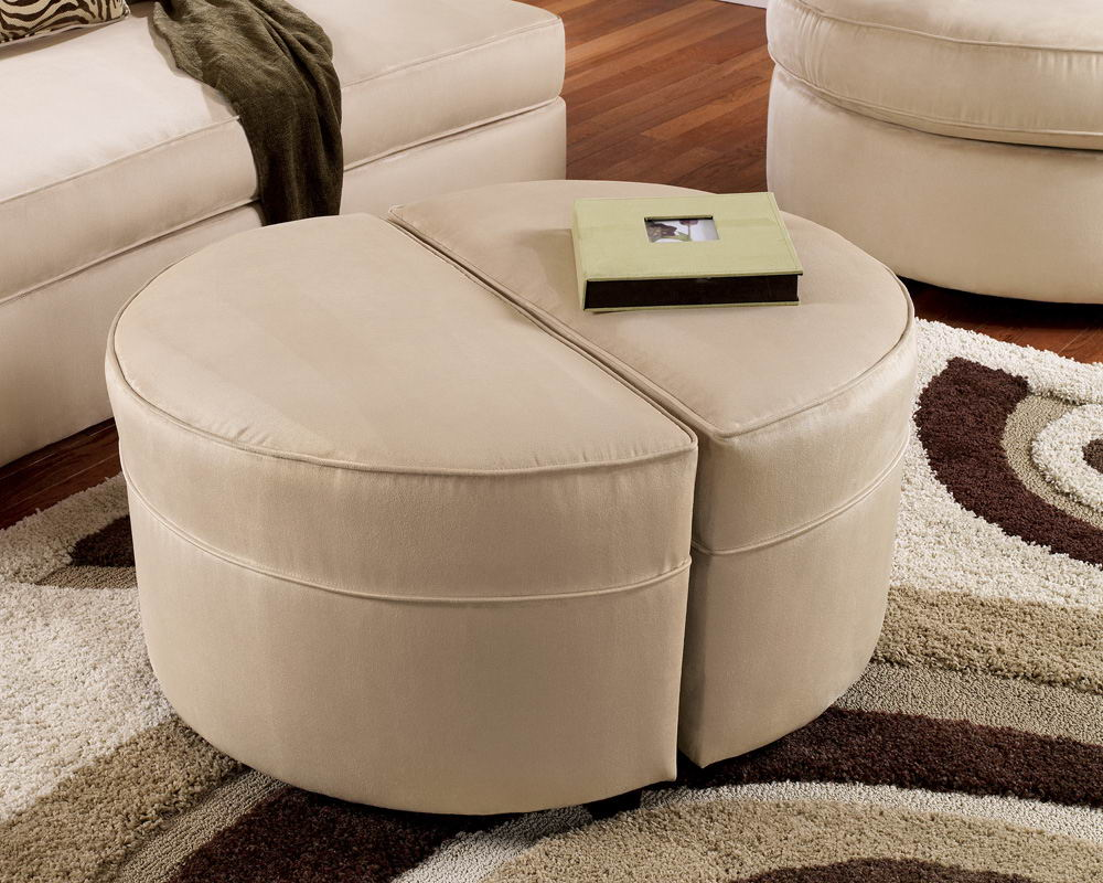 Small Round Ottoman In Beige Which Can Be Separated Into Two Parts Featuring Modern Patterned Rug