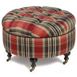 small round tufted tartan ottoman with short wooden legs and small wheels