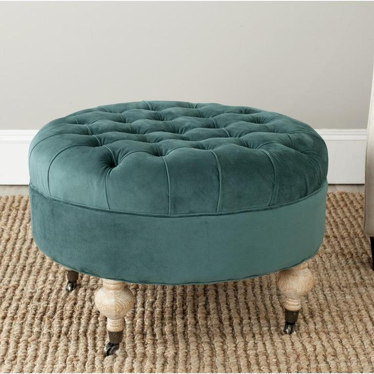 small round tufted turuoise ottoman with wooden leg featuring small wheels  plus natural fiber rug - Small Round Ottoman Giving Extra Update In Your Home Decor HomesFeed