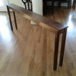 solid skinny sofa table in brown finished and hardwood floor ideas for stunning home interior