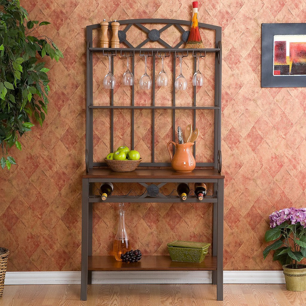 southern-enterprises-bakers-rack-with-coffee-finish-to-store-and-organize-glasses-bottles-canisters-on-the-wine-rack-and-3-shelves-and-hooks-for-hang-wine-glasses-made-of-sturdy-metal