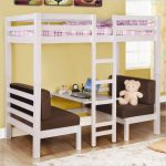 space saving bunk beds with desks with purple white bedding set and comfy brown sofa plus desk