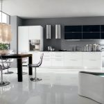 spacious black and white kitchen design idea with modern appliances and dining table with transparent style and great faux pendant