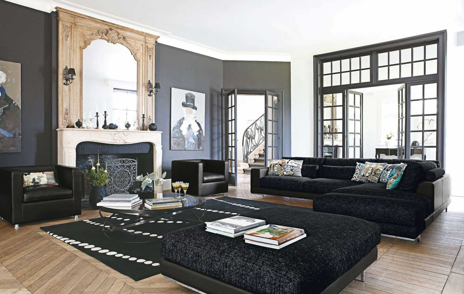 Black living room rugs intentional decoration for classy for Living area decoration
