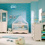 stunning baby nursery idea with turquouse wallpaper design and rug adn storage and elegant white crib and closet