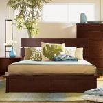 stunning flay natural cherry wood headboard idea with creamy bedding and pillows and indoor plant and dresser and blue accent and creamy bamboo flooring