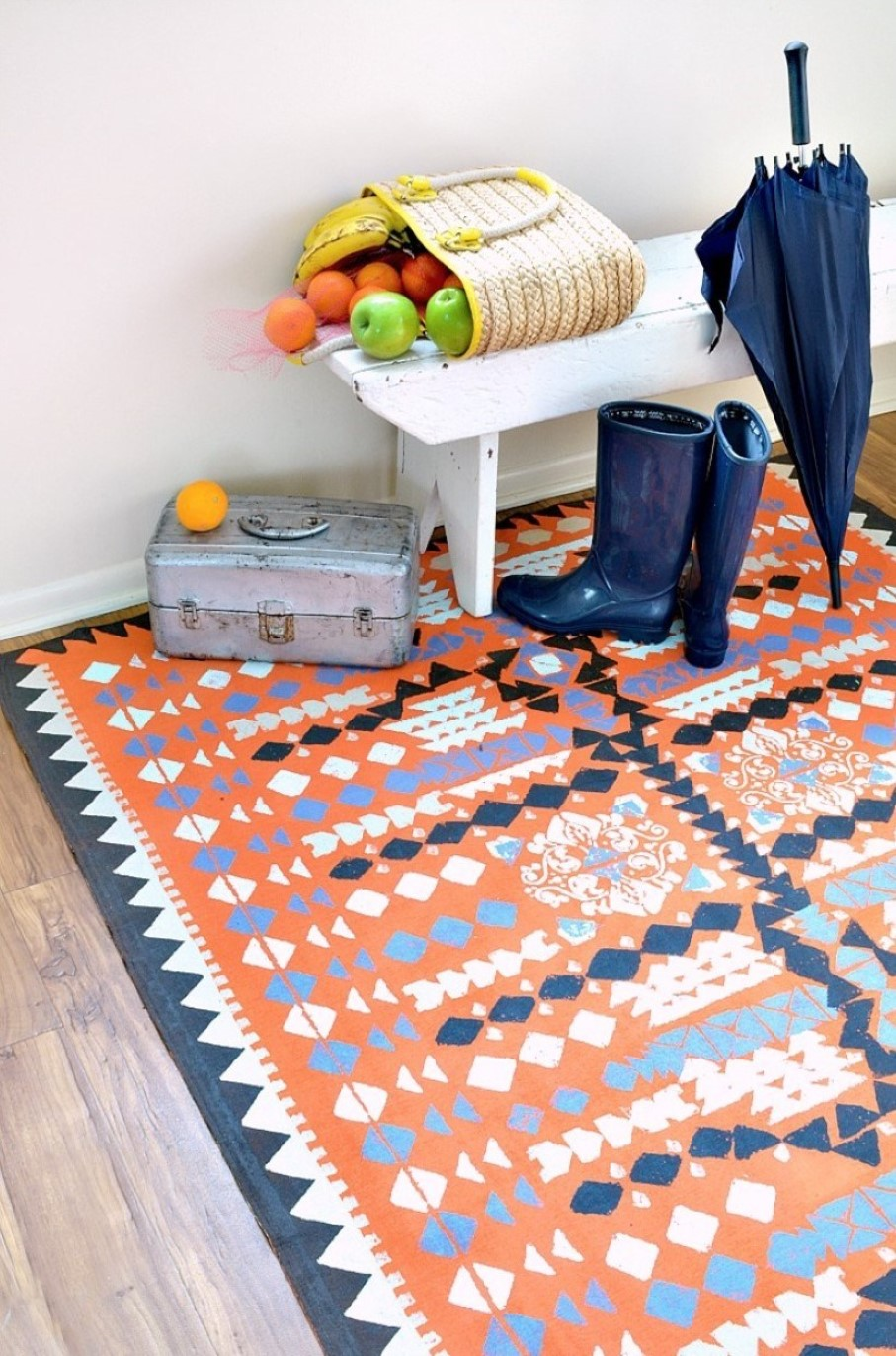 Stunning Patterned Bohemian Diy Floor Rug Design With Orange And Navy Blue  Design With White Wooden