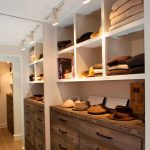 stunning walk in closet ideas with wooden cabinets and shelves featuring led closet lights  that ease you in finding the stuffs