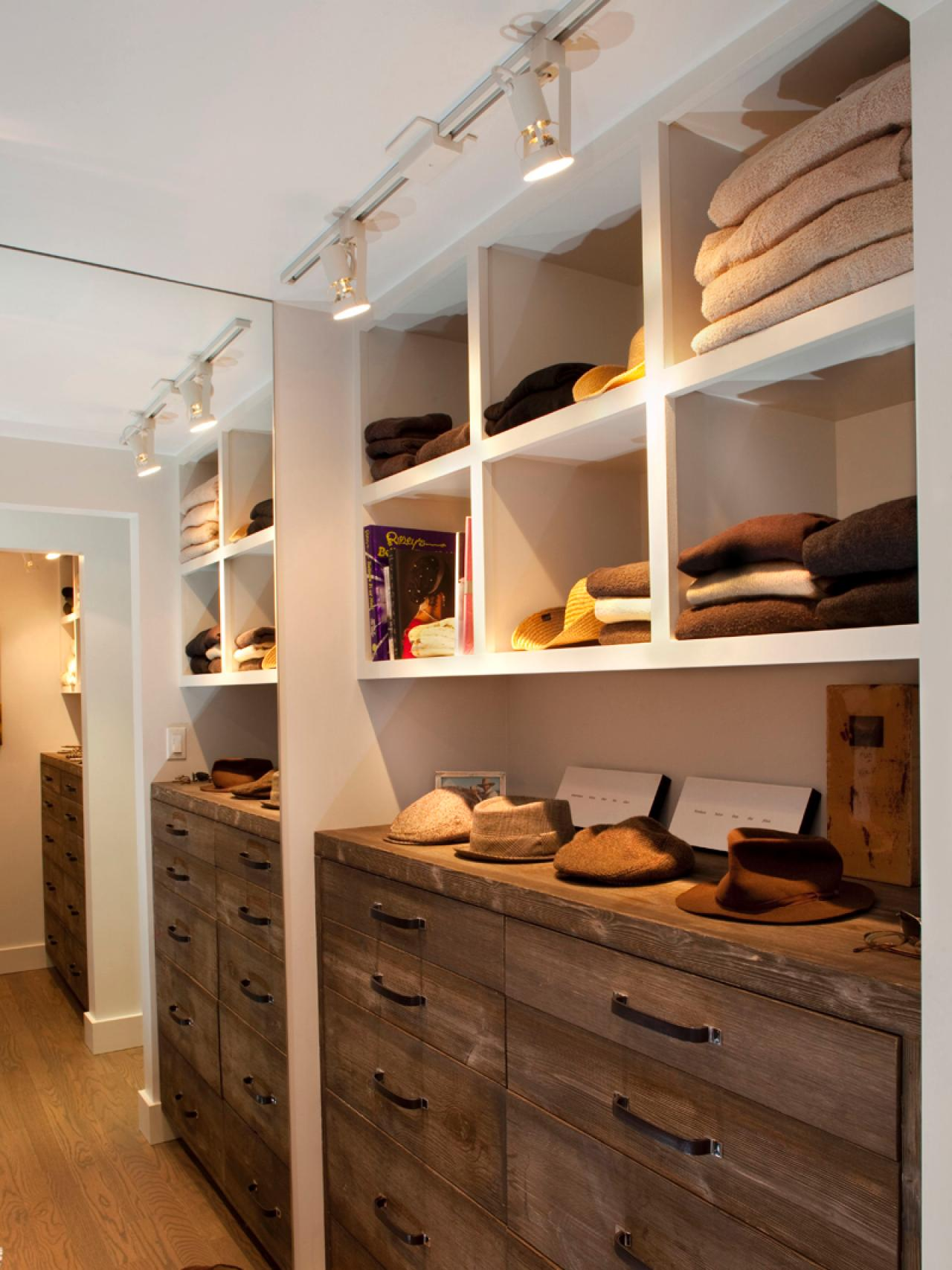 stunning walk in closet ideas with wooden cabinets and shelves featuring  led closet lights that ease
