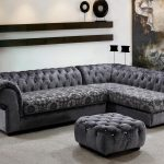 Stylish Unique Sectional Sofas In Grey With Stunning Pattern Plus Tufted Ottoman Coffee Table Plus Unique Wall Mounted Shelves