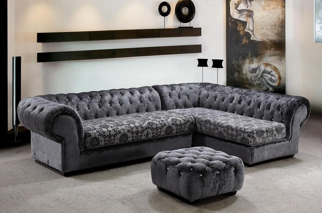 Stylish Unique Sectional Sofas In Grey With Stunning Pattern Plus Tufted Ottoman Coffee Table