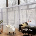 stylist transparent shade for glass door coverings decorated in fascinating family room with upholstered bench and white fabric armchair and brown rug