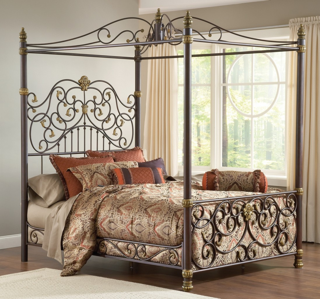 Super Awesome Iron Canopy Bed Frame With Luxury Comforter Set Plus Modern Drapes On Windows