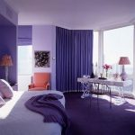 sweet purple bedroom color ideas with purple curtain and area rug and sheet on white bedding with lovely vanity idea and open plan
