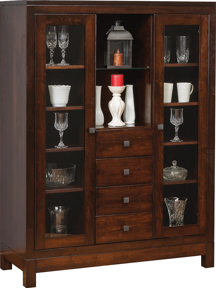 Tall China Cabinet In Dark Finished With Two Glass Doors And Four Drawers  Completed With Elegant