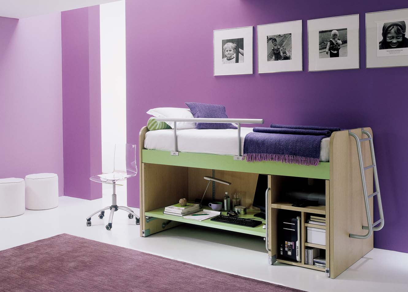 Violet bedroom color ideas - Teen Purple Bedroom Color Idea With Target Frame On The Wall With Acrylic Swivel Cair And